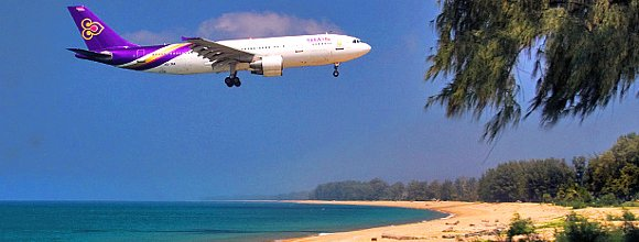 Plane Landing at Phuket International Airport